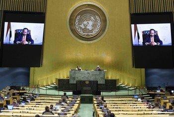 الدكتور عبد الله آدم حمدوك، رئيس وزراء جمهورية السودان يلقي كلمة بلاده أمام الجمعية العامة للأمم المتحدة