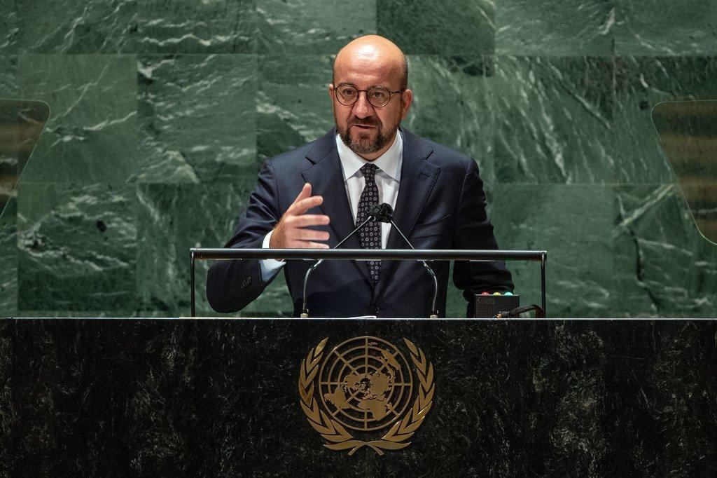 Charles Michel, Président du Conseil européen de l'Union européen, lors de son intervention faite dans le cadre du débat général de la 76ème session de l'Assemblée générale.