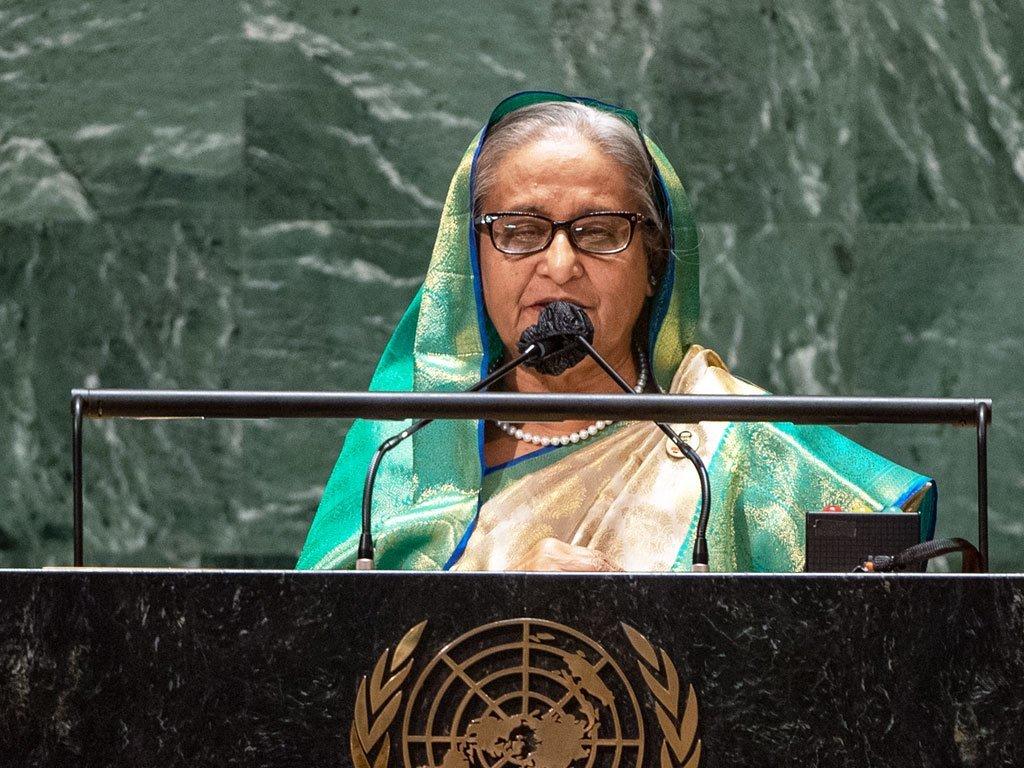 बांग्लादेश की प्रधानमंत्री शेख़ हसीना यूएन महासभा के 76वें सत्र को सम्बोधित करते हुए.
