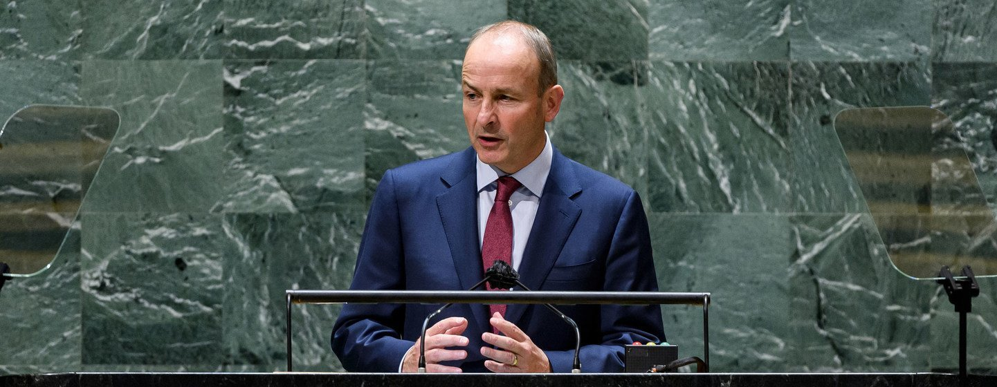 Micheál Martin, Taoiseach of Ireland, addresses the general debate of the UN General Assembly's 76th session.