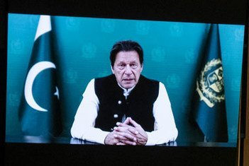 Prime Minister Imran Khan (on screen) of Pakistan addresses the general debate of the UN General Assembly's 76th session.