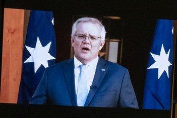 澳大利亚总理莫里森在联合国大会第76届会议上发表视频讲话。