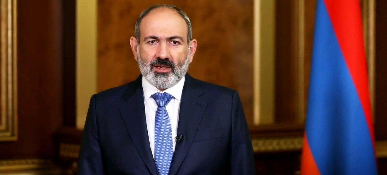 Премьер-министр Республики Армения Никол Пашинян обращается к делегатам 76-й сессии  Генеральной Ассамблеи ООН