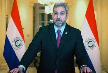 El Presidente de Paraguay, Mario Abdo Benítez, interviene en el debate general de la 76ª sesión de la Asamblea General de la ONU.