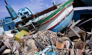 Cimetière de bateaux à Lampedusa où les embarcations utilisées par des migrants sont placées avant d'être détruites.