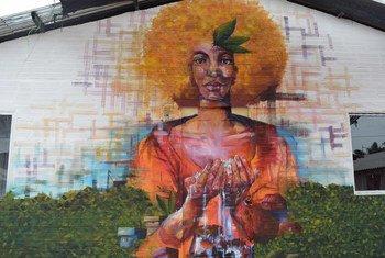 Uno de los treinta murales pintados en el festival de pintura urbana realizado en el Espacio de Formación y Reincorporación Territorial (ETCR) de Agua Bonita, en el departamento de Caquetá, Colombia.
