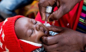 A nurse administers an oral poliovirus vaccine (OPV) to a baby at the Kaloko Clinic, Ndola, Zambia.