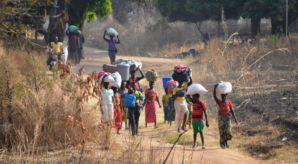 徒步进入乍得的中非共和国难民。