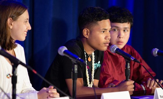 On 23 September 2019, at UNICEF House in New York, Ranton Anjain, 17, from the Marshall Islands, speaks at a press conference announcing a collective action being taken on behalf of young people facing the impacts of the climate crisis.