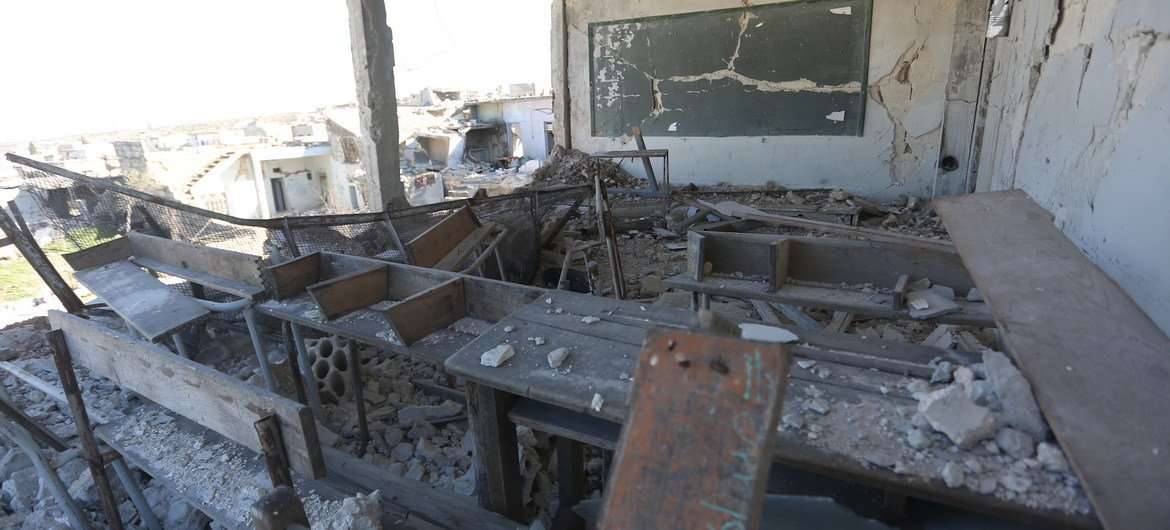 A destroyed classroom at a girls high school in Syria, that was attacked in March 2020.