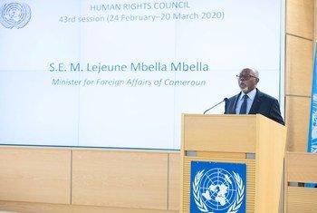 Lejeune Mbella Mbella, Ministre des relations extérieures du Cameroun, s'adresse au segment de haut niveau de la 43e session ordinaire du Conseil des droits de l'homme à Genève.
