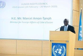 Le Ministre des affaires étrangères de la Côte d'Ivoire, Marcel Amon-Tanoh, s'adresse au segment de haut niveau de la 43e session ordinaire du Conseil des droits de l'homme à Genève.