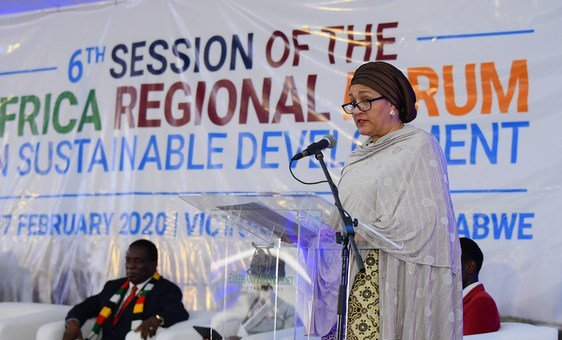 Deputy Secretary-General Amina Mohammed delivers the keynote address at the opening of the 6th African Regional Forum on Sustainable Development in Zimbabwe.