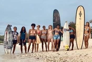 Young women surfers in Vanuatu