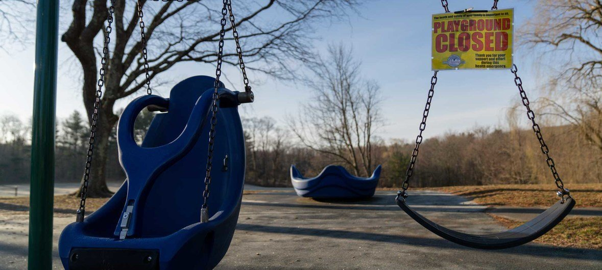 A playground at an elementary school in Ridgefield, in the US state of Connecticut, sits empty following temporary school closures.