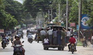 Migrant workers commute to their workplace in the Mandalay region. (file)