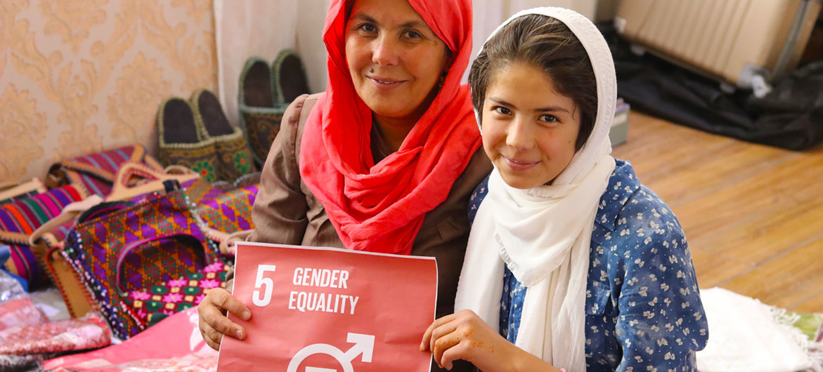An entrepreneur and her daughter run a small business in Bamyan, Afghanistan.