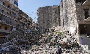أحد أحياء مدينة حلب، سوريا.
