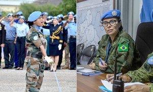 Ganhadoras do Premio Defensora Militar da Igualdade de Gênero de 2020, a major Suman Gawani e a comandante Carla Monteiro de Castro Araújo.