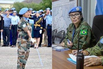 Suman Gawani (à gauche) anciennement déployée auprès de la MINUSS, et Carla Monteiro de Castro Araujo, déployée au sein de la MINUSCA sont les lauréates du Prix du Militaire des Nations Unies de l'Année 2019 pour la Défense de l'Egalité des Genres