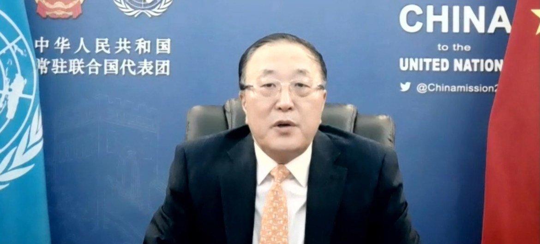 """中国常驻联合国代表张军大使在名为""""通向昆明之路,共建地球生命共同体""""的网络研讨会上致辞"""