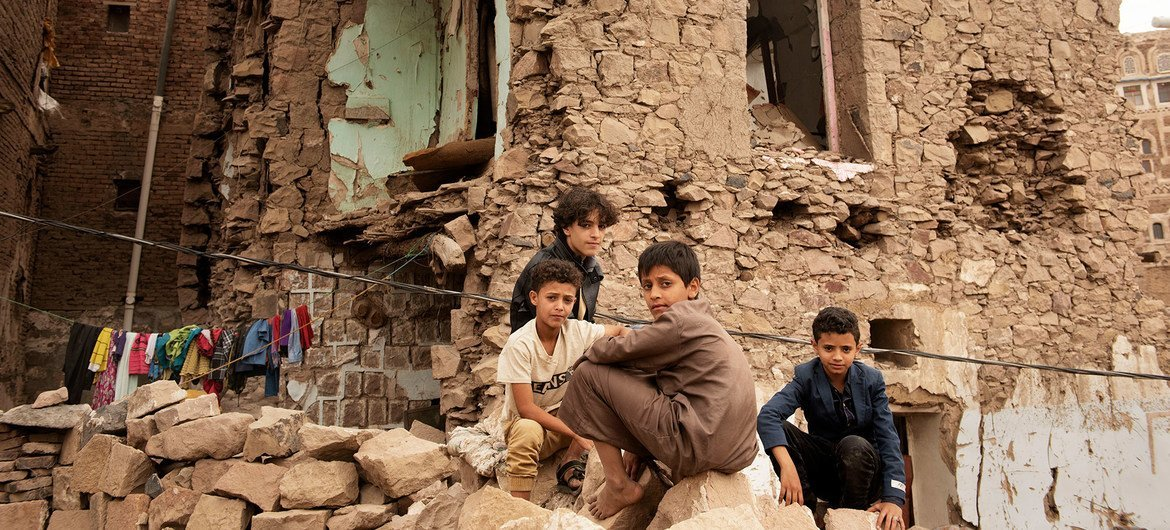Children beryllium   successful  beforehand   of a location   damaged by an aerial  strike, wrong  the aged  metropolis  of Sana'a, Yemen. (file)