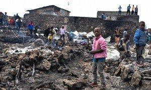 Des enfants ont été séparés de leur famille quand les gens ont fui Goma, dans l'est de la République démocratique du Congo, à la suite de l'éruption du volcan Nyiragongo.