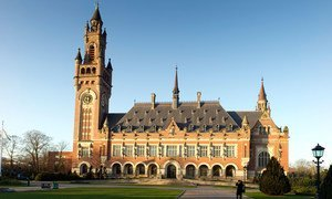 An outside view of the Peace Palace in The Hague (Netherlands), which has been the seat of the International Court of Justice since 1946.