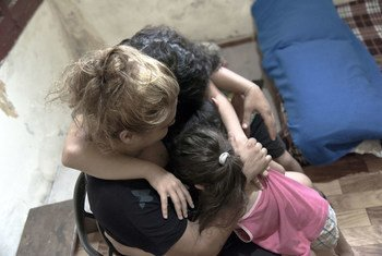 UNICEF, with local partner Himaya, provides Faten, the mother of three, with psychosocial support after the catastrophic explosion in Beirut on 4 August 2020.