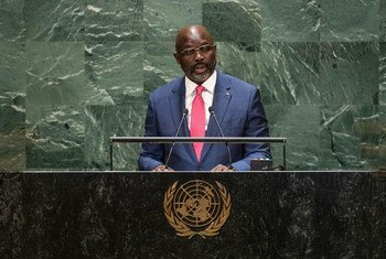 George Manneh Weah, President of the Republic of Liberia, addresses the 74th session of the United Nations General Assembly's General Debate. (25 September 2019)