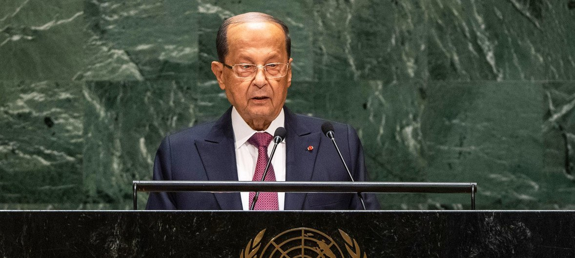 Michel Aoun, President of the Lebanese Republic, addresses the 74th session of the United Nations General Assembly's General Debate. (25 September 2019)