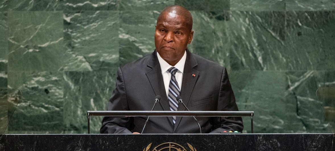 Faustin Archange Touadera, President of the Central African Republic, addresses the 74th session of the United Nations General Assembly's General Debate. (25 September 2019)