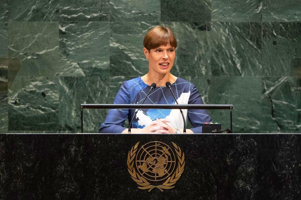爱沙尼亚共和国总统克尔斯季·卡柳莱德在第74届联合国大会一般性辩论上讲话。(2019年9月25日)