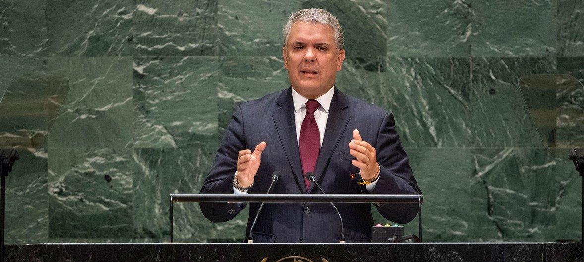 Iván Duque Márquez, presidente de Colombia, interviene en el 74º de sesiones de la Asamblea General.