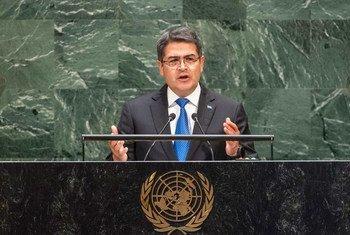 Juan Orlando Hernández, presidente de Honduras, en la Asamblea General