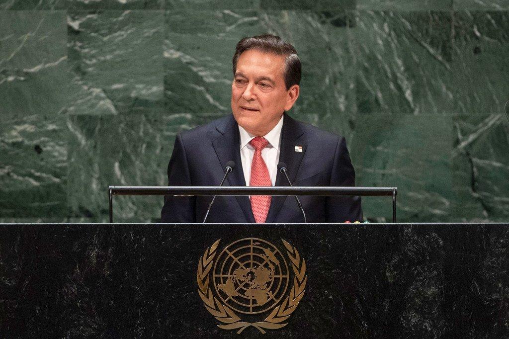 El presidente de Panamá, Laurentino Coritzo, habla en la Asamblea General.