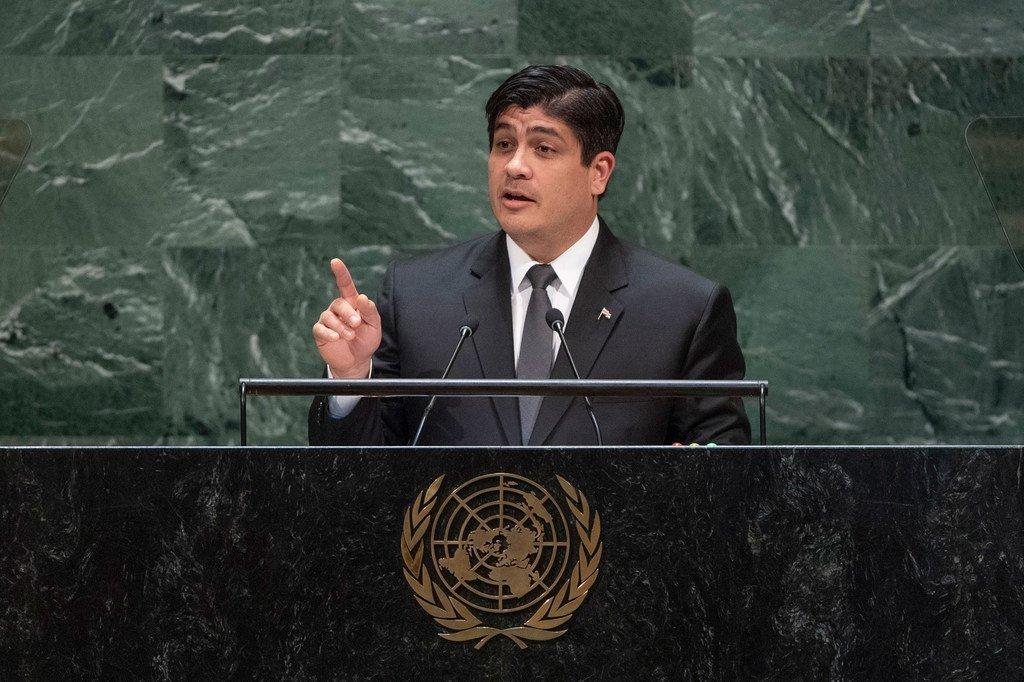 El presidente de la República de Costa Rica, Carlos Alvarado Quesada,se dirige a la 74ª sesión del Debate General de la Asamblea General de las Naciones Unidas. (25 de septiembre de 2019)