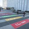 The 17 Sustainable Development Goals (SDGs) painted onto the plaza at the Visitors Entrance to the United Nations. (19 September 2019)