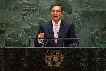 Martín Vizcarra Cornejo, presidente de Perú, durante su discurso en el debate del 74º periodo de sesiones de la Asamblea General.