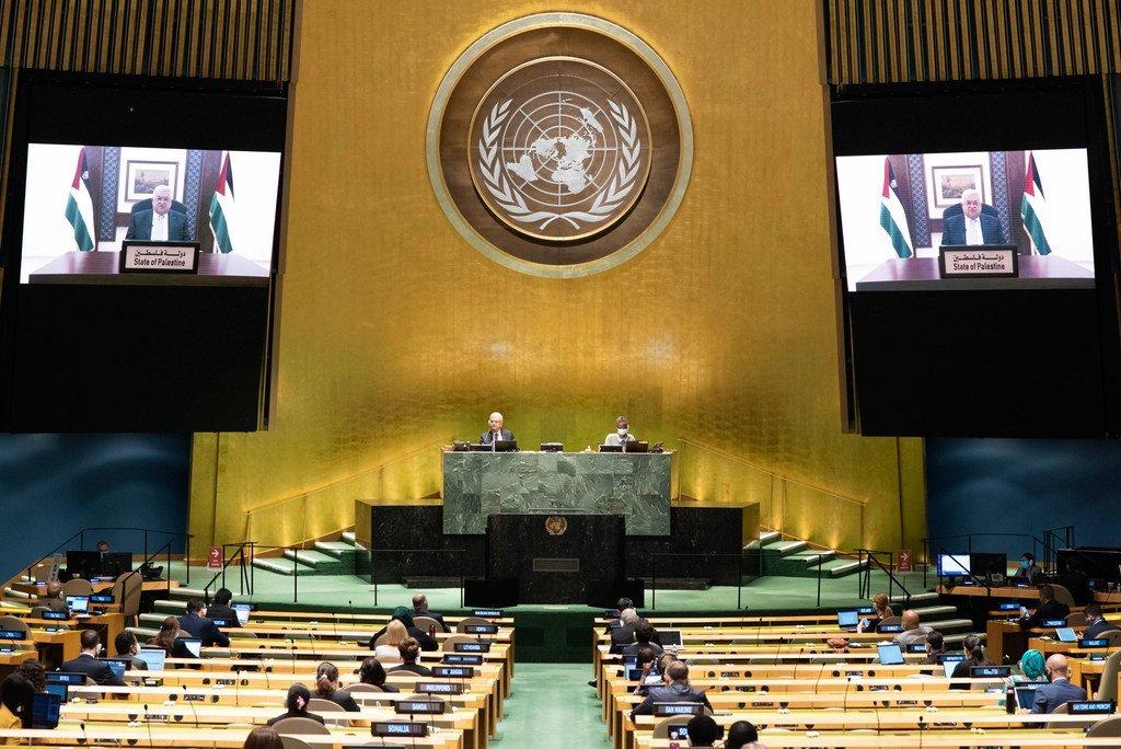 Rais Mahmoud Abbas wa Taifa la Palestina akihutubia mjadala Mkuu wa Baraza la Kuu la Umoja wa Mataifa UNGA75 kwa njia ya video.