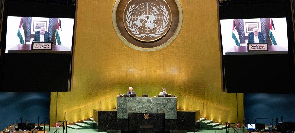 巴勒斯坦总统阿巴斯在联合国大会第75届会议上发表视频讲话。
