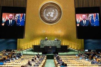 欧洲理事会的主席夏尔·米歇尔在联合国大会第75届会议上发表视频讲话。