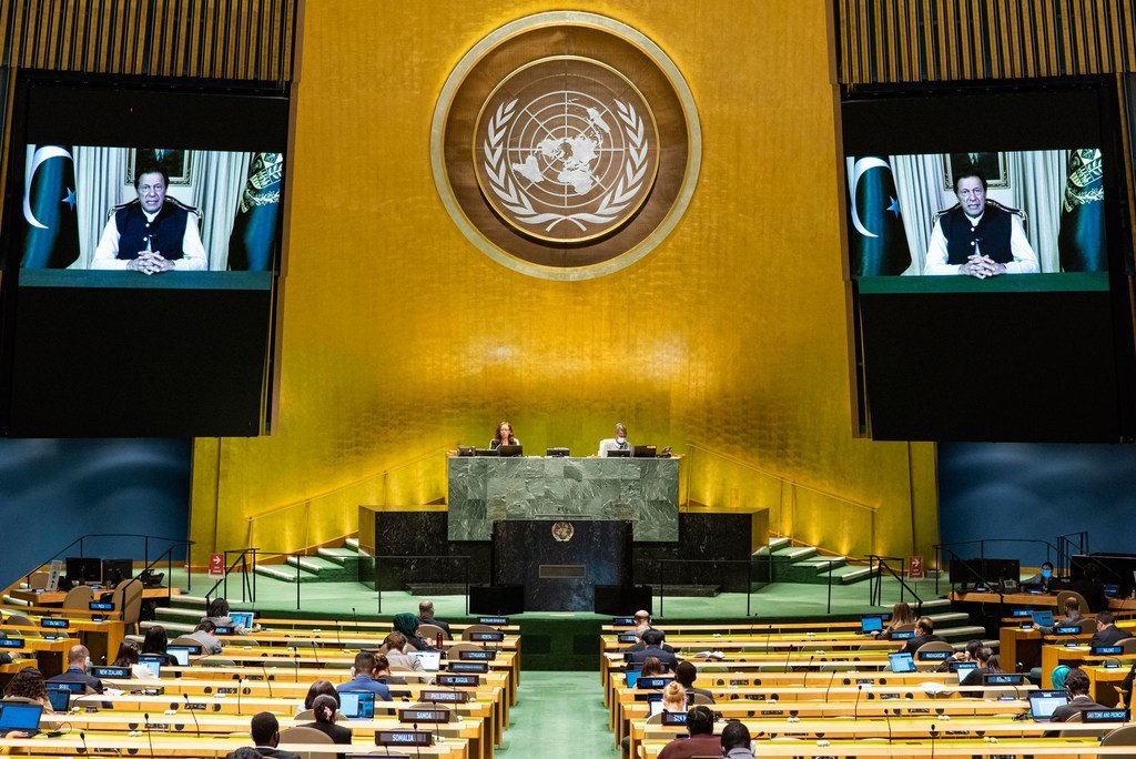 Prime Minister Imran Khan (on screen) of Pakistan addresses the general debate of the General Assembly's seventy-fifth session.