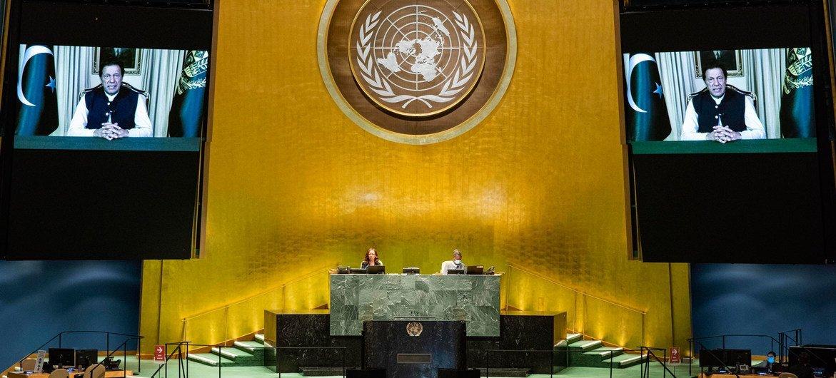 رئيس وزراء باكستان يلقي كلمة بلاده في المناقشة العامة للدورة الخامسة والسبعين للجمعية العامة للأمم المتحدة