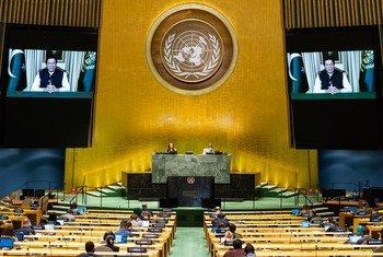 巴基斯坦总理伊姆兰·汗在联合国大会第75届会议上发表视频讲话。