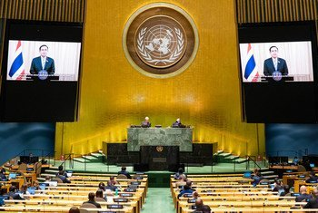 Prime Minister Prayut Chan-o-cha (on screen) of Thailand addresses the general debate of the General Assembly's seventy-fifth session.
