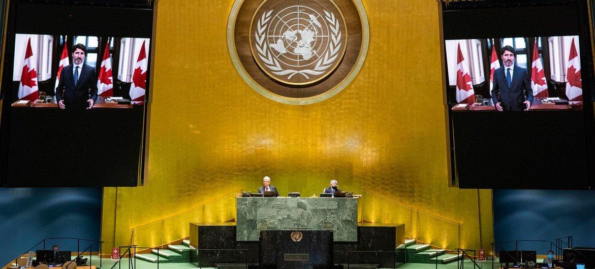 加拿大总理特鲁多在联合国大会第75届会议上发表视频讲话。