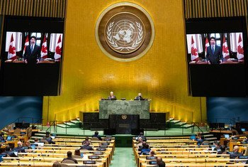 Prime Minister Justin Trudeau (on screen) of Canada addresses the general debate of the General Assembly's seventy-fifth session.