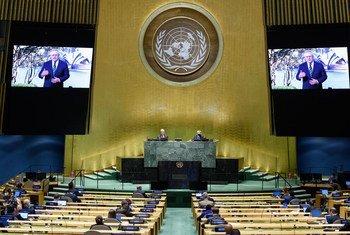 澳大利亚总理莫里森在联合国大会第七十五届会议一般性辩论上通过事先录制的视频发表讲话。