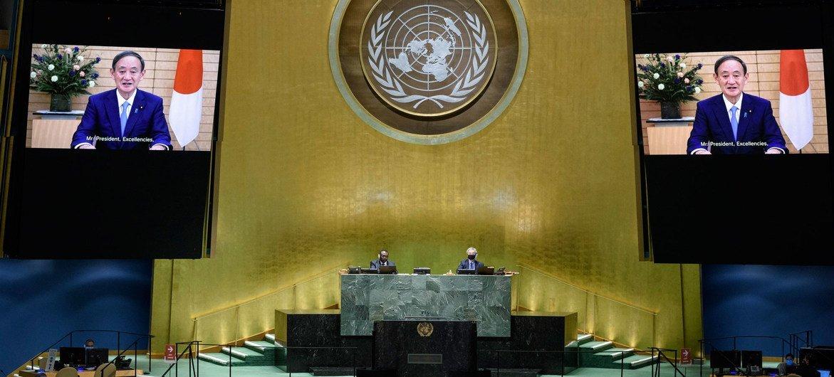 يوشيهيدي سوغا رئيس وزراء اليابان يلقي كلمة بلاده أمام المداولات العامة للجمعية العامة للأمم المتحدة